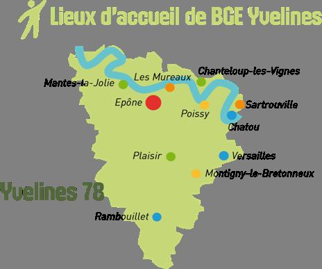 carte des lieux d'accueil BGE Yvelines 78